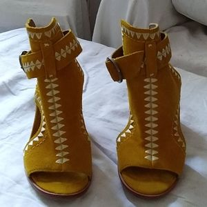Yellow suede bootie sandal